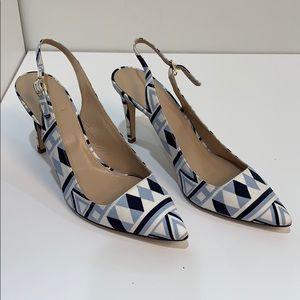 J.Crew linen sling backs heels